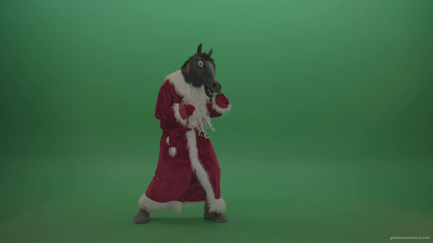 vj video background Horse-head-santa-displays-his-fight-techniques-over-chromakey-background-1920_003