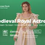 Medieval Royal Actress girl woman green screen video footage