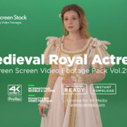 Medieval Royal Actress girl woman green screen video footage