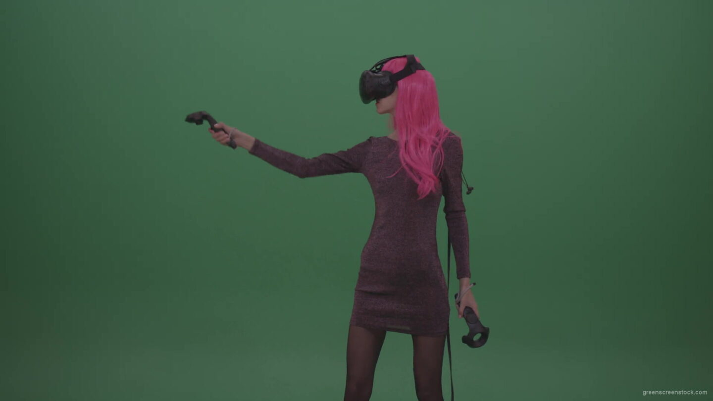 vj video background Pink_Hair_Young_Japanese_Anime_Rock_Girl_Shooting_Enemies_In_Virtual_Reality_Game_Heavy_Wind_Weather_Green_Screen_Wall_Background-1920_003