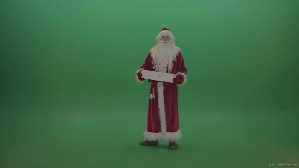 Santa-displays-plus-sign-postcard-over-green-screen-background-1920_006 Green Screen Stock
