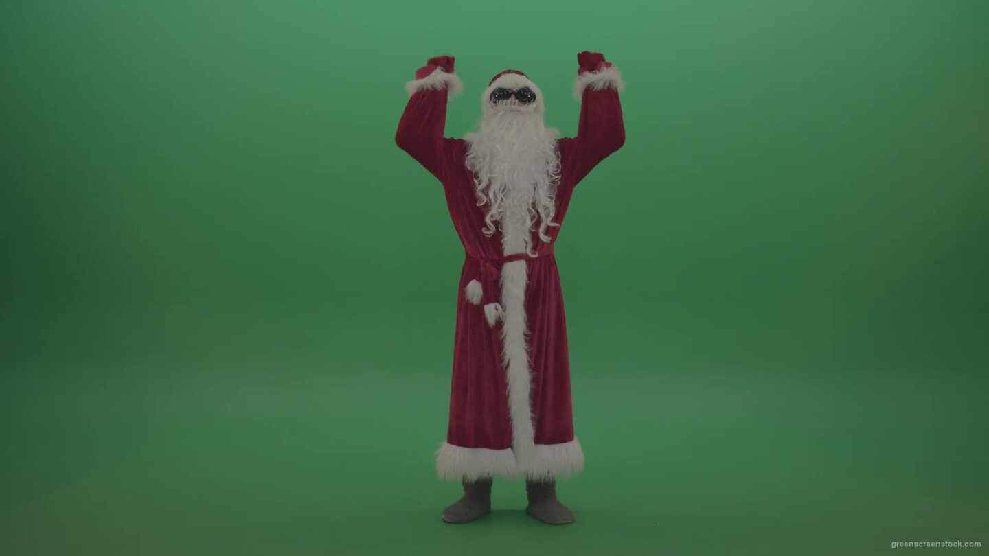 vj video background Santa-in-black-glasses-celebrates-his-victory-over-chromakey-background-1920_003