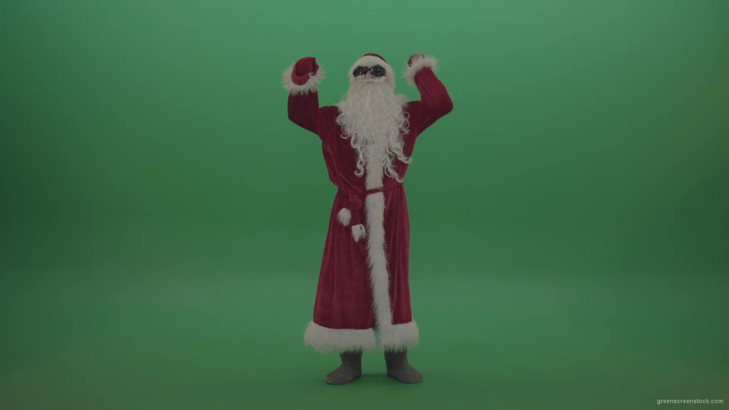 vj video background Santa-in-black-glasses-celebrates-his-victory-over-green-screen-background-1920_003