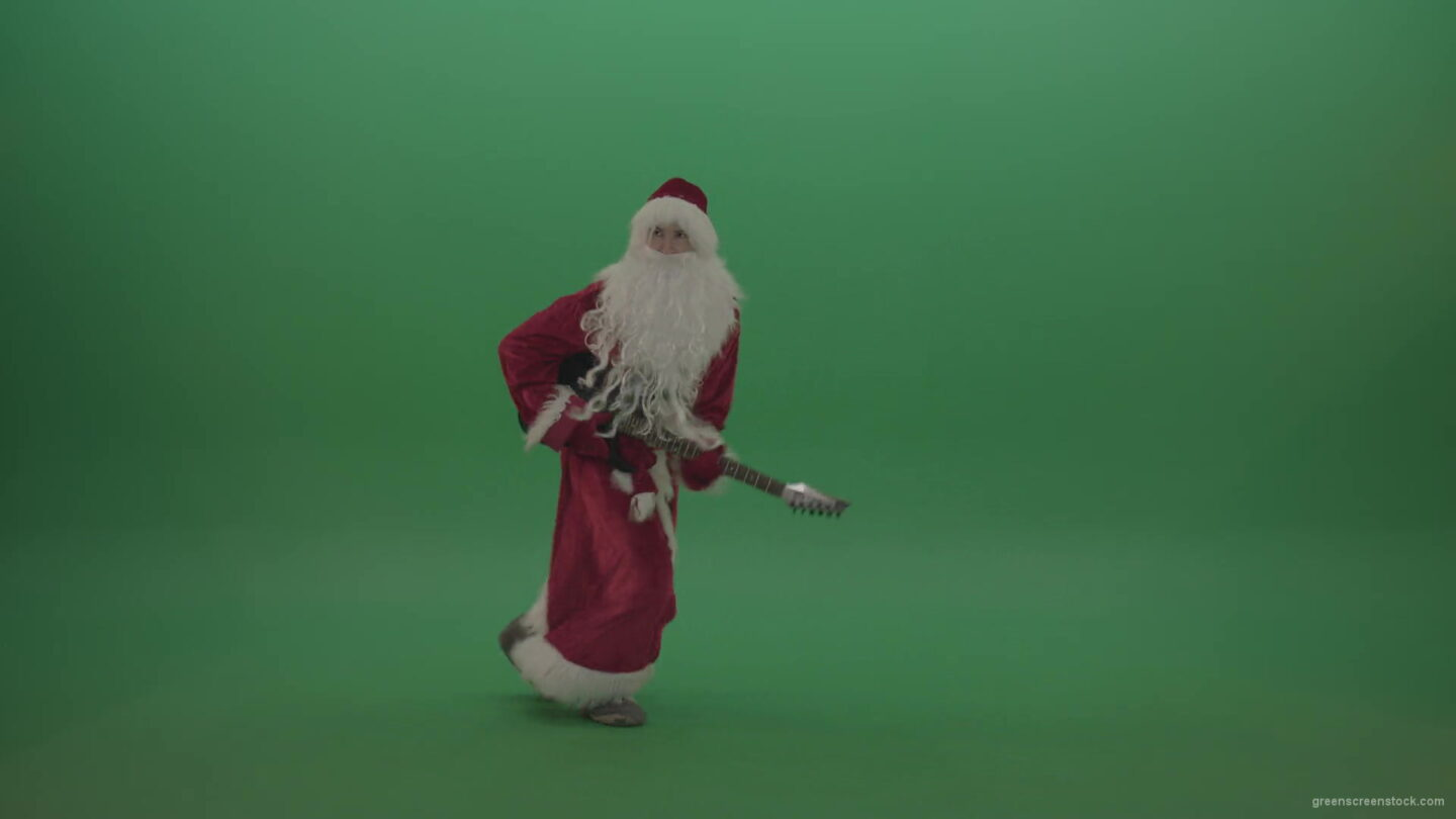 vj video background happy-santa-plays-his-guitar-in-a-stylish-fashion-over-chromakey-background-1920_003