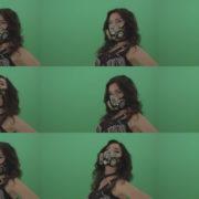 Black-hair-girl-in-diamond-fashion-mask-moving-head-on-chromakey-1920 Green Screen Stock