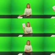 Blonde-hair-girl-in-white-shirt-give-3-point-mark-score-Full-HD-Green-Screen-Video-Footage Green Screen Stock