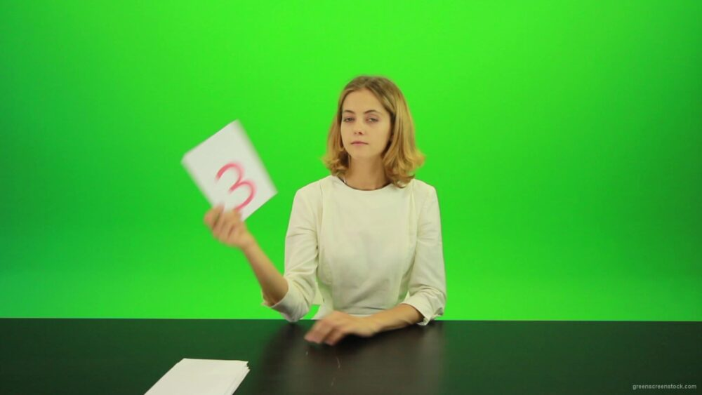 vj video background Blonde-hair-girl-in-white-shirt-give-3-point-mark-score-Full-HD-Green-Screen-Video-Footage_003