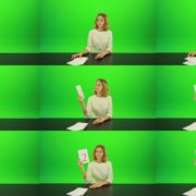 Blonde-shy-jury-gives-two-2-points-mark-Full-HD-Green-Screen-Video-Footage Green Screen Stock