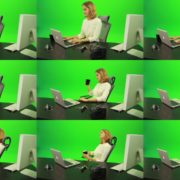 Business-Woman-Relaxing-and-Drinking-Coffee-after-Hard-Work-Green-Screen-Footage Green Screen Stock