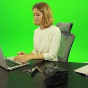 Business-Woman-Relaxing-and-Drinking-Coffee-after-Hard-Work-Green-Screen-Footage_001 Green Screen Stock