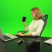 Business-Woman-Relaxing-and-Drinking-Coffee-after-Hard-Work-Green-Screen-Footage_005 Green Screen Stock
