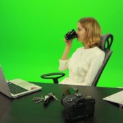 Business-Woman-Relaxing-and-Drinking-Coffee-after-Hard-Work-Green-Screen-Footage_009 Green Screen Stock