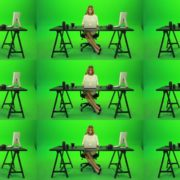 Business-Woman-Working-in-the-Office-Green-Screen-Footage Green Screen Stock