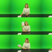 Happy-smiling-jury-girl-give-high-5-five-points-mark-score-Full-HD-Green-Screen-Video-Footage Green Screen Stock