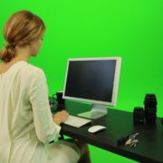 Woman-Sits-Down-and-Works-on-the-Computer-Green-Screen-Footage_008 Green Screen Stock