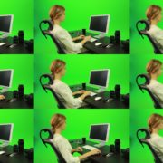Woman-Working-on-the-Computer-4-Green-Screen-Footage Green Screen Stock