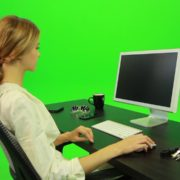 Woman-Working-on-the-Computer-4-Green-Screen-Footage_008 Green Screen Stock
