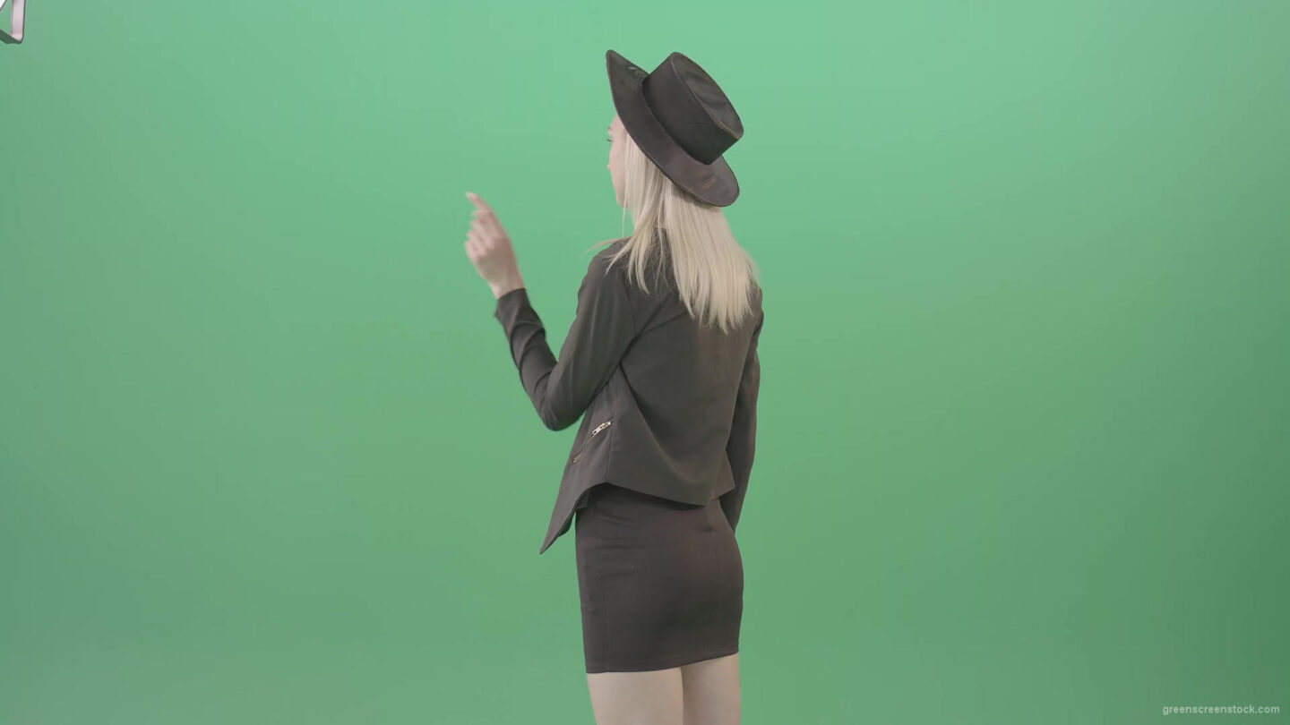 vj video background Back-view-black-costume-blonde-girl-looking-virtual-products-on-touch-screen-4K-Green-Screen-Video-Footage-1920_003