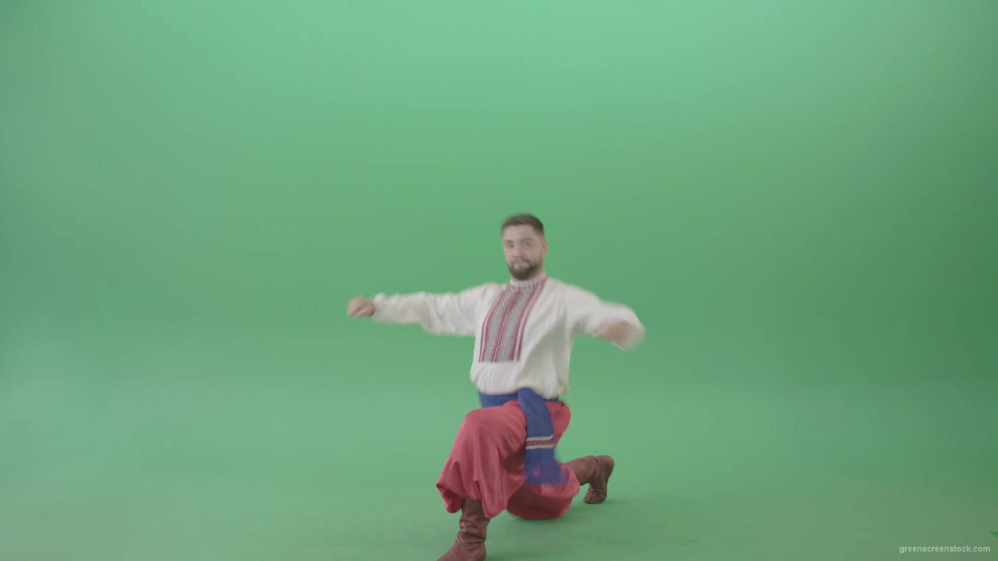 Cossack-Dance-Hopak-by-Ukrainian-Man-isolated-on-Green-Screen-4K-Video-Footage-1920_009 Green Screen Stock