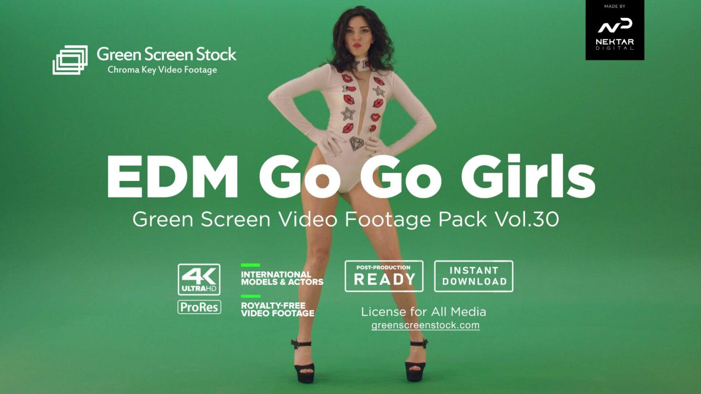 EDM Go Go Girls on green screen