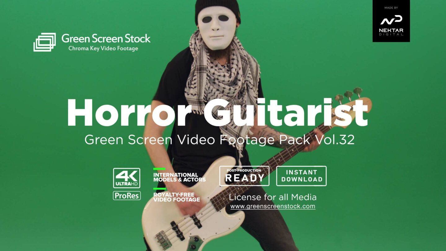 Horror-Guitarist on green screen