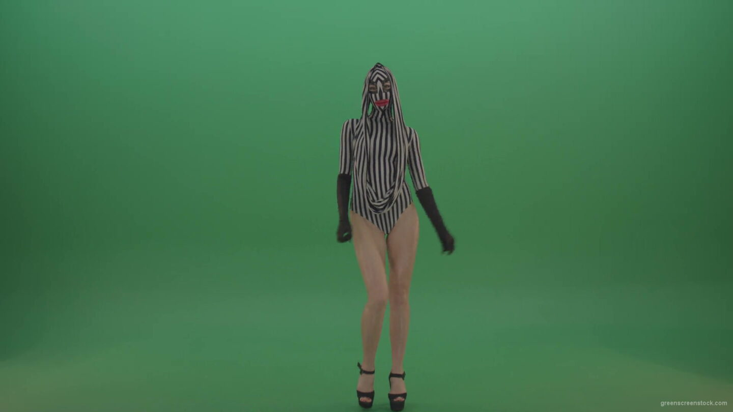 vj video background Long-legs-girl-march-in-white-black-stripe-costume-and-mask-on-green-screen-1920_003