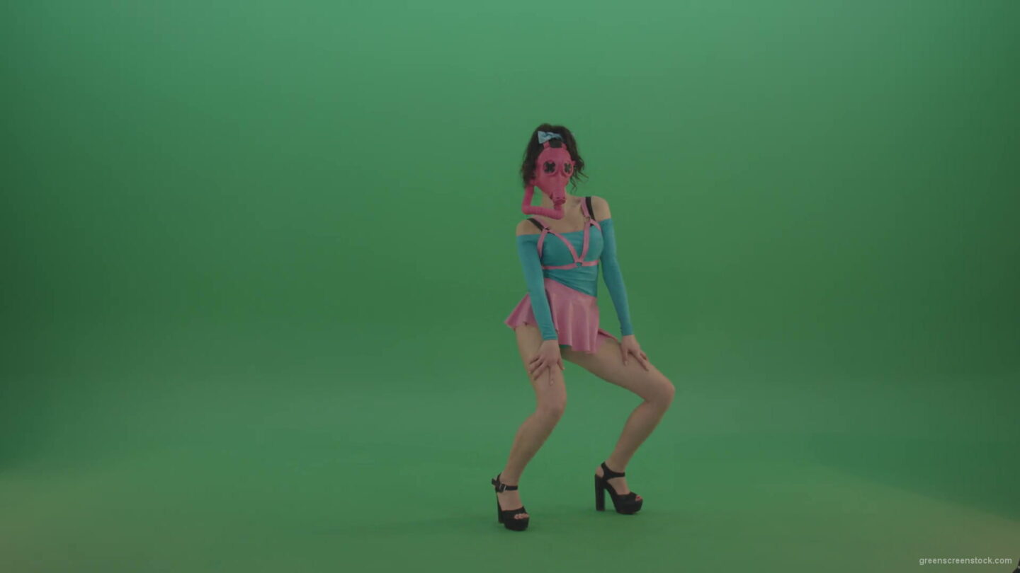 vj video background Rave-Go-Go-Dancing-girl-in-gas-mask-play-on-Green-Screen-4K-Video-Footage-1920_003