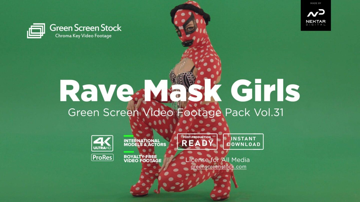 rave mask girls green screen video footage