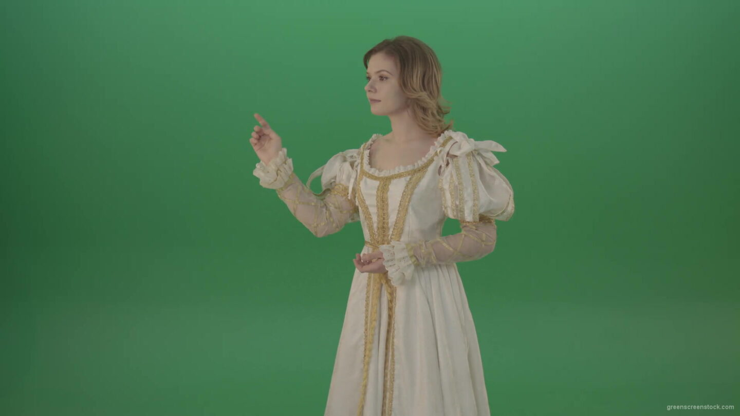 vj video background Satisfied-woman-in-a-medieval-dress-flips-a-touchscreen-and-smiles-isolated-on-green-background-1920_003