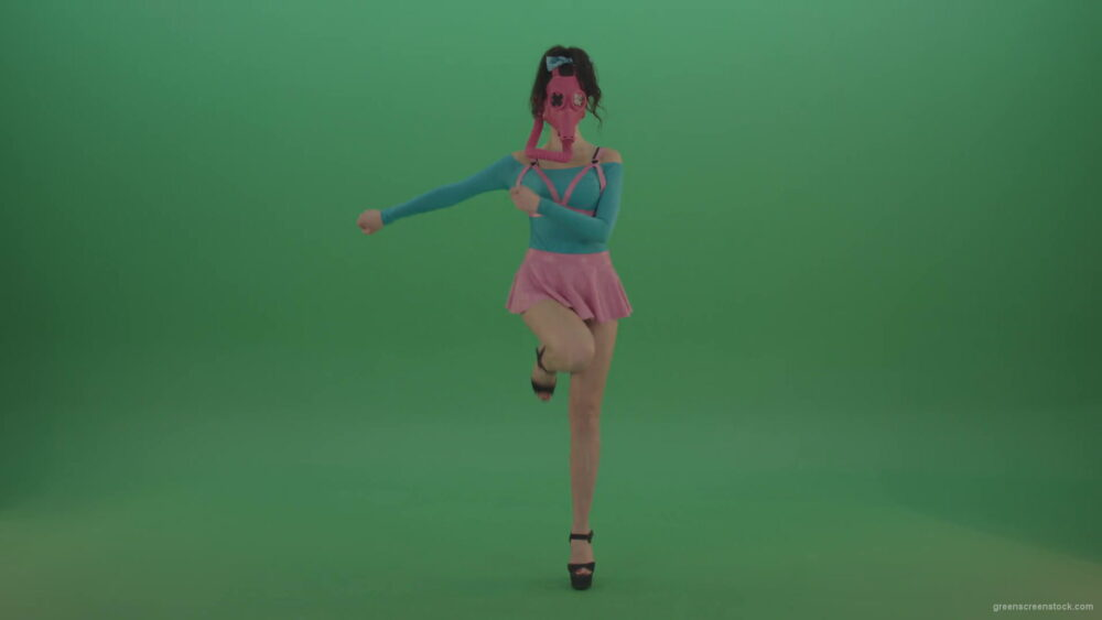 vj video background Sexy-Girl-in-Pink-Gas-Mask-marching-isolated-on-Green-Screen-4K-Video-Footage-1920_003