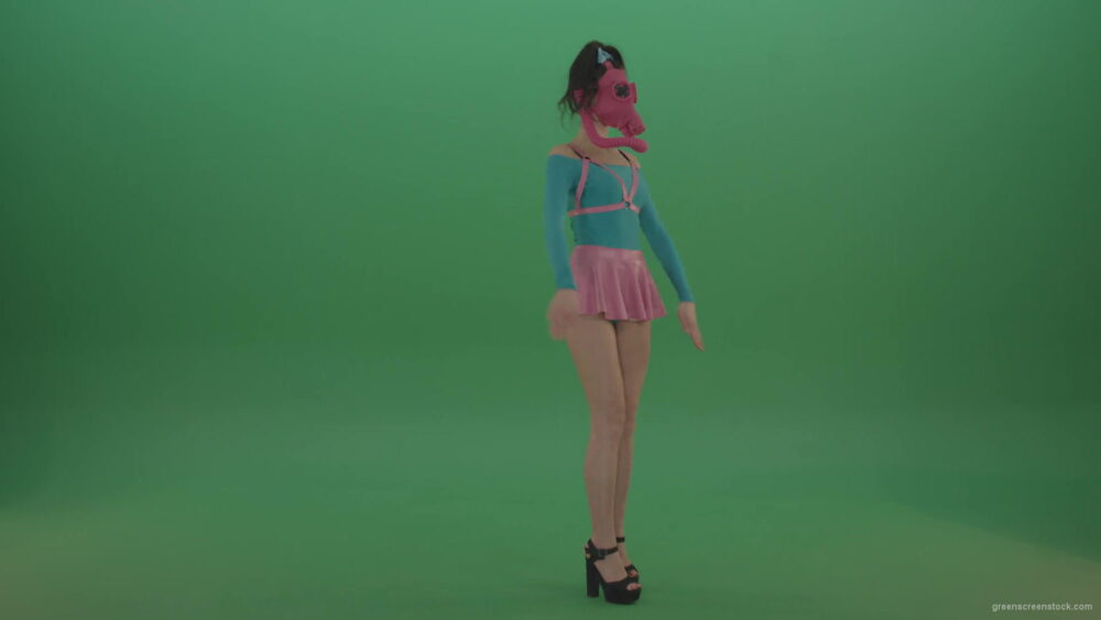 vj video background Side-view-fetish-girl-in-gas-mask-marching-on-green-screen-4K-Video-Footage-1920_003
