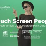 Touch Screen girl on green screen background