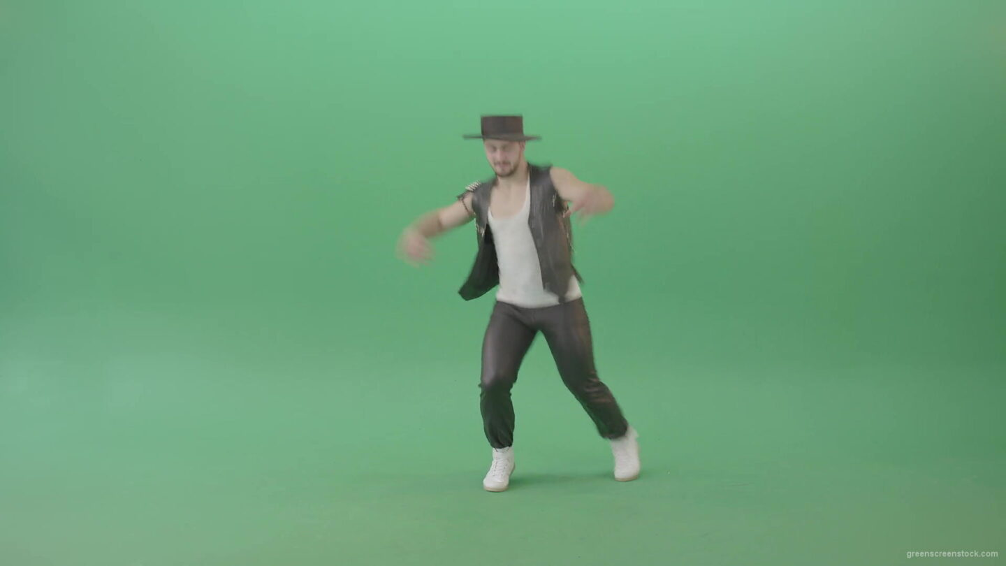 vj video background American-Man-with-beard-and-in-black-hat-dancing-Shuffle-isolated-on-Chroma-key-green-screen-4K-Video-Footage-1920_003