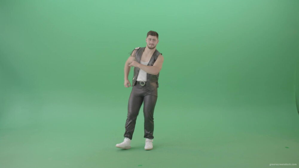 vj video background Angry-caucasian-Man-in-Black-leather-costume-dancing-Pop-Moves-on-Green-Screen-4K-Video-Footage-1920_003