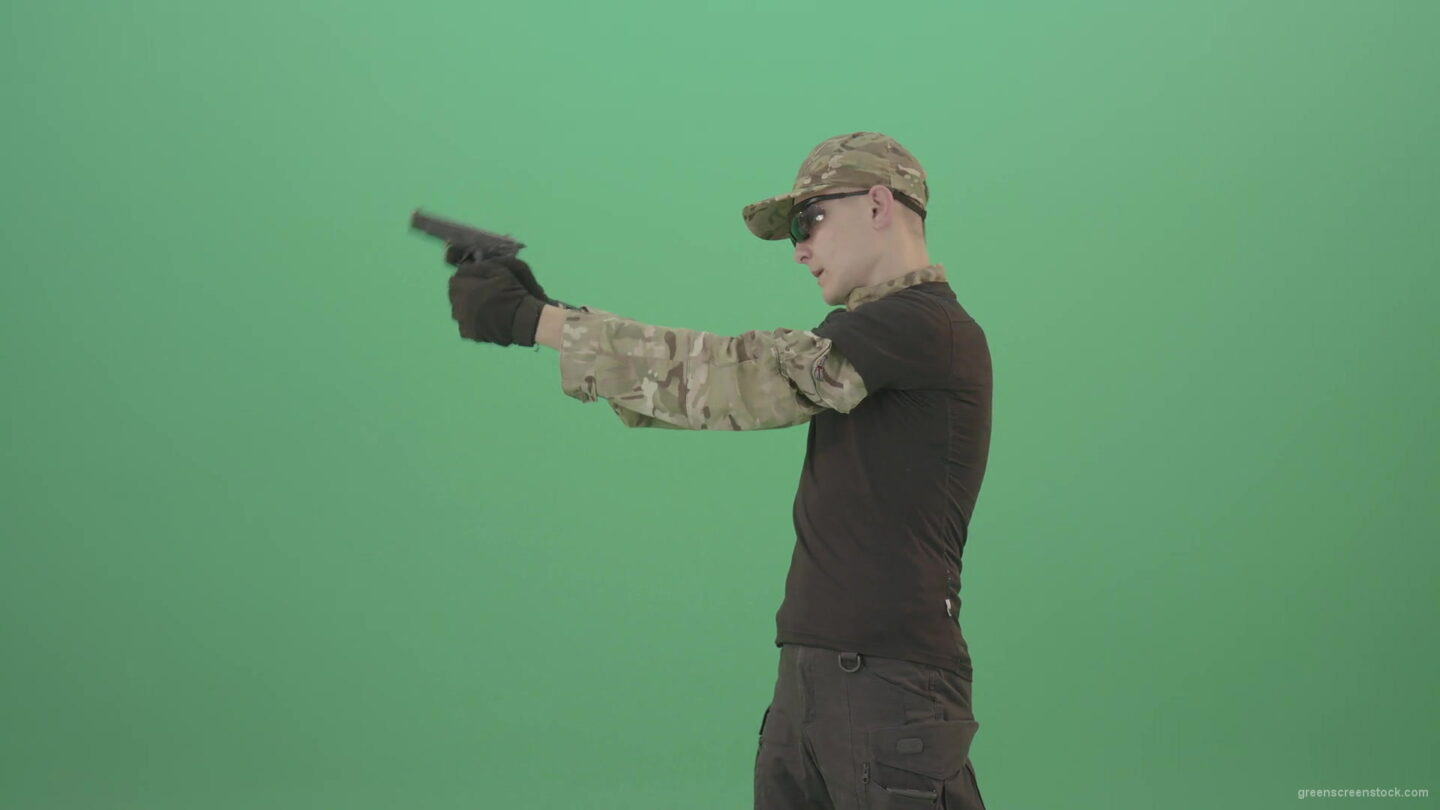vj video background Army-Man-Assassin-shooting-with-small-gun-isolated-on-green-screen-4K-Video-Footage-1920_003