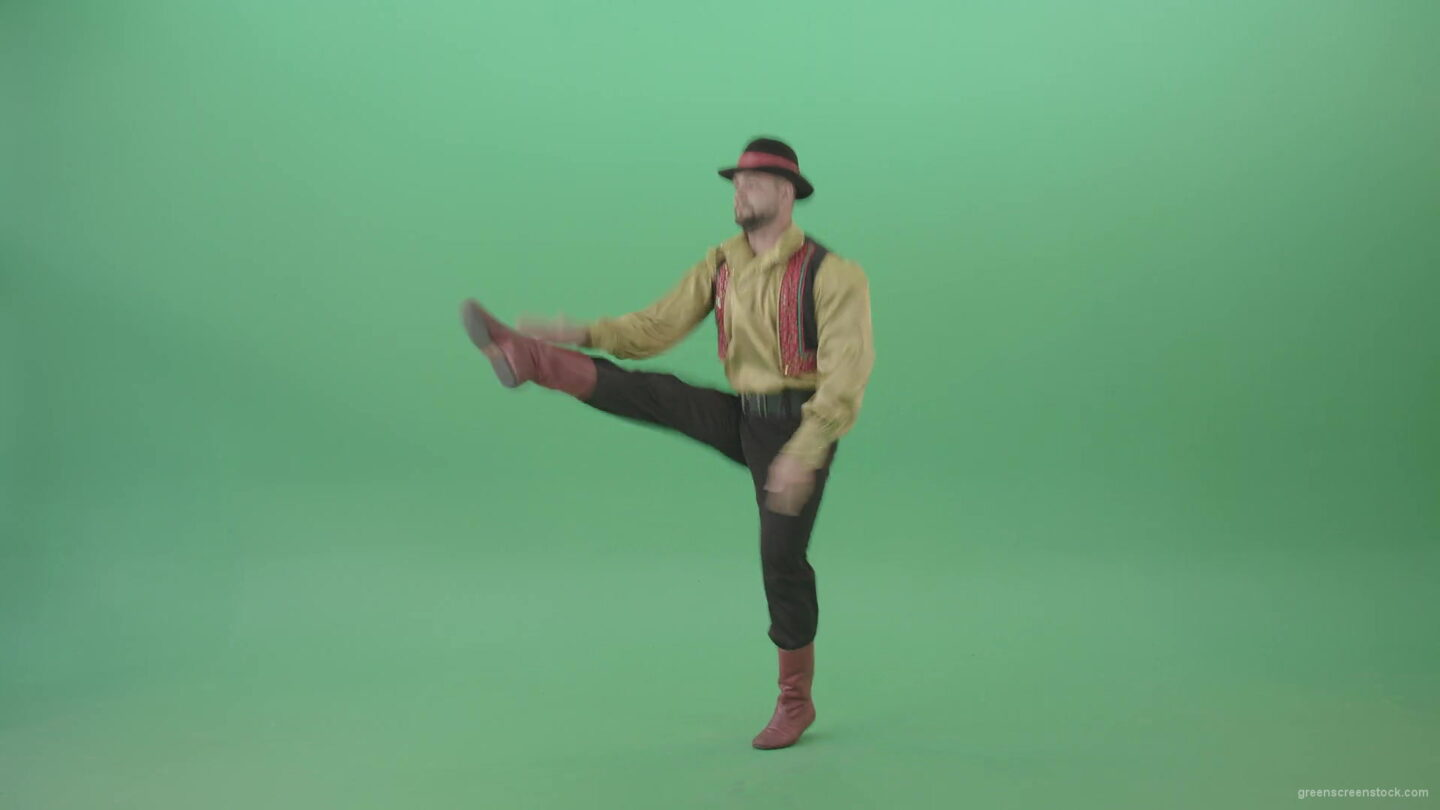 Balcan-gipsy-man-dancer-showing-clapping-moves-isolated-on-green-screen-4K-Video-Footage-1920_009 Green Screen Stock