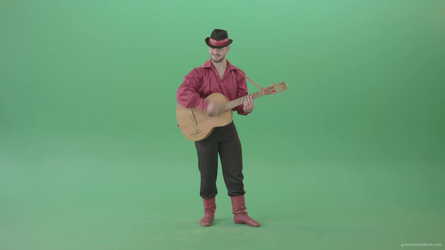 vj video background Balkan-Gipsy-man-in-red-shirt-playing-guitar-isolated-on-green-screen-4K-Video-Footage-1920_003
