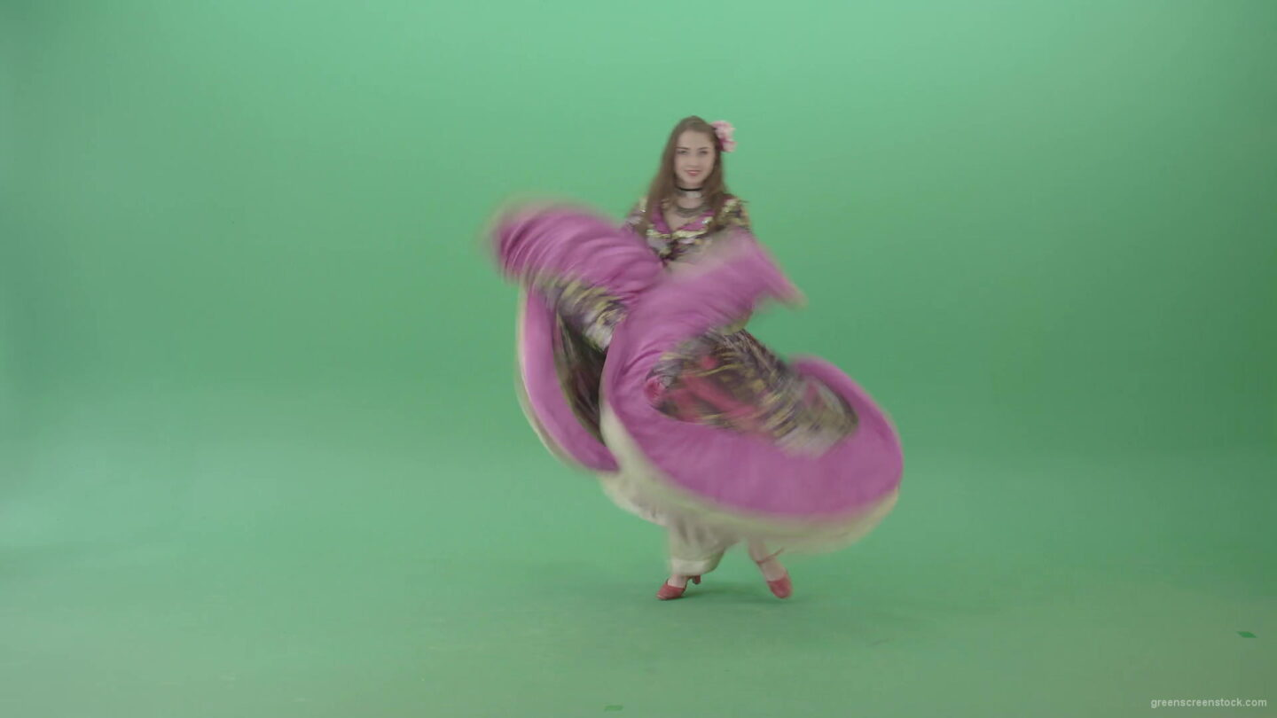 vj video background Beautiful-girl-in-balkan-pink-dress-dancing-gypsy-folk-dance-isolated-on-green-screen-4K-Video-Clip-1920_003