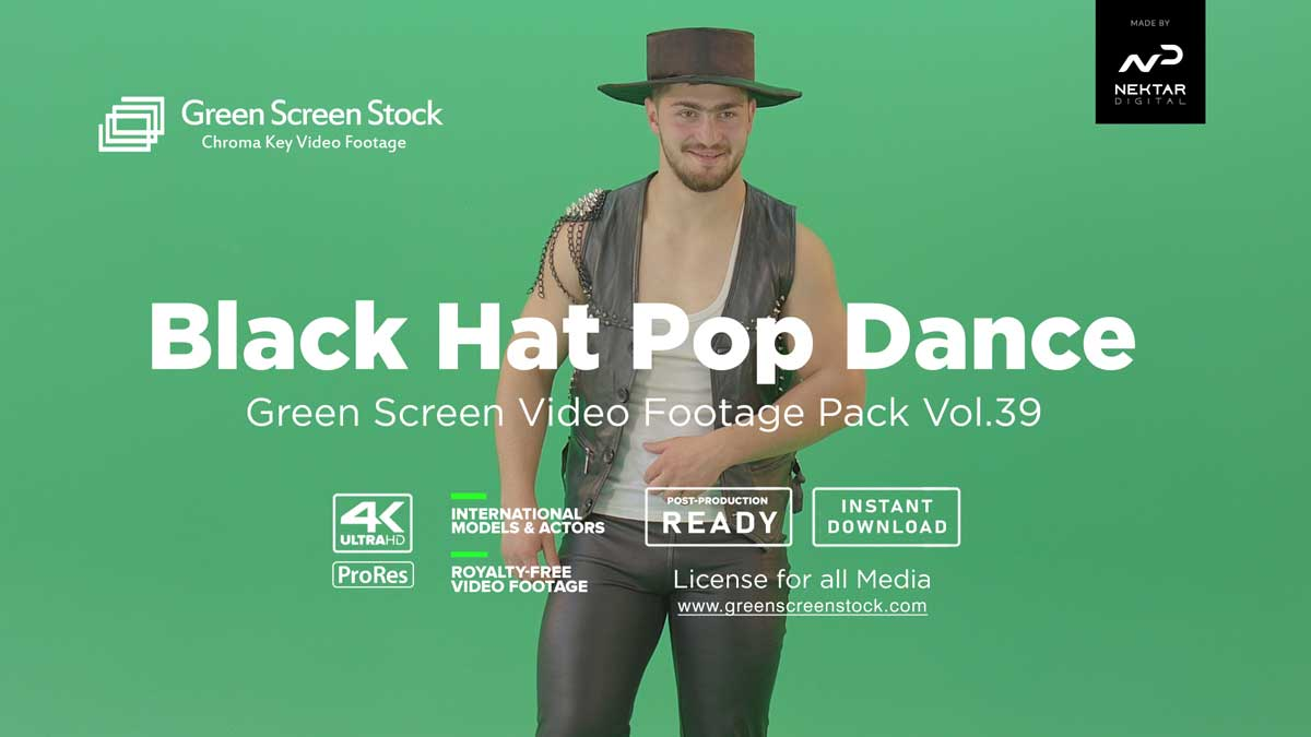 Black-Hat-Man-Pop-Dance on green scree - video footage