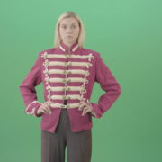 Blonde-Girl-in-Imperial-Royal-uniform-posing-and-shows-photomodel-gestures-isolated-on-Green-Screen-4K-Video-Footage-1920_001 Green Screen Stock