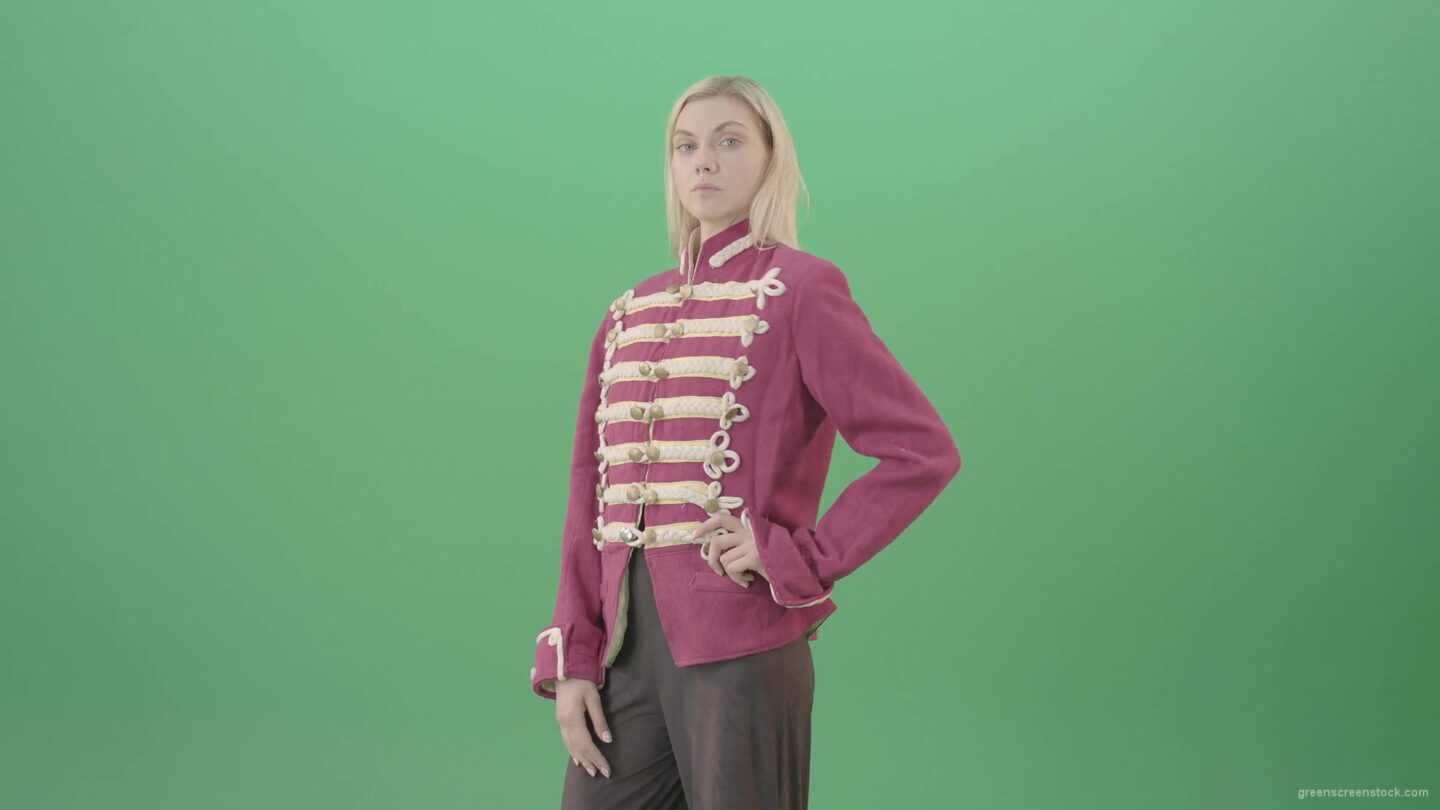 vj video background Blonde-Girl-in-Imperial-Royal-uniform-posing-and-shows-photomodel-gestures-isolated-on-Green-Screen-4K-Video-Footage-1920_003
