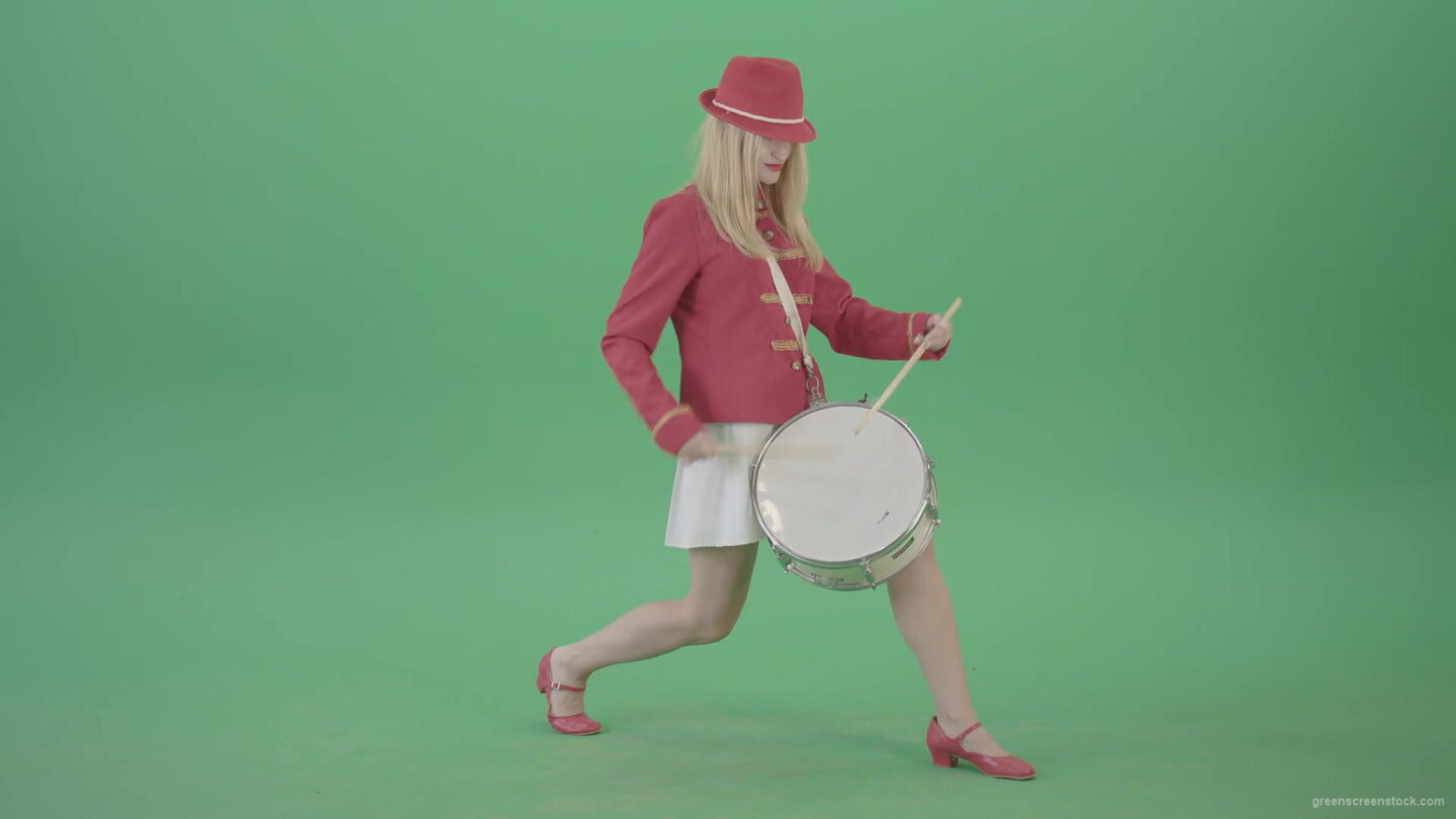 vj video background Blonde-Girl-in-Red-Uniform-making-beats-on-music-drum-instrument-in-active-pose-on-green-screen-4K-Video-Footage-1920_003