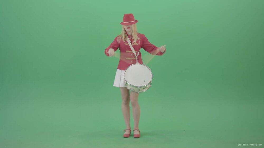 vj video background Blonde-Girl-playing-snare-drum-fast-and-marching-on-green-screen-4K-Video-Footage-1920_003