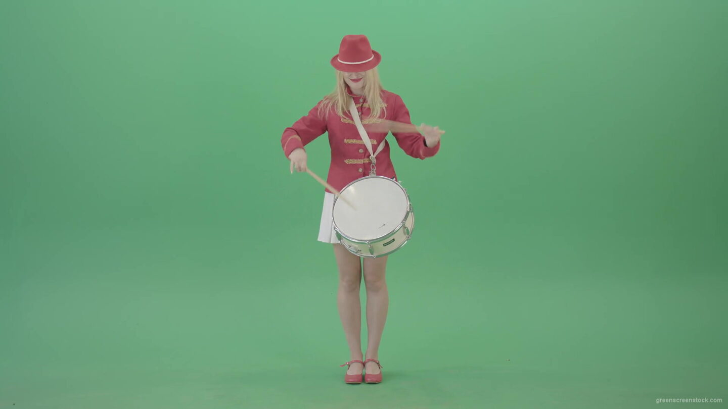 vj video background Blonde-woman-in-military-celebration-uniform-play-snare-drum-isolated-on-green-screen-4K-Video-footage-1920_003