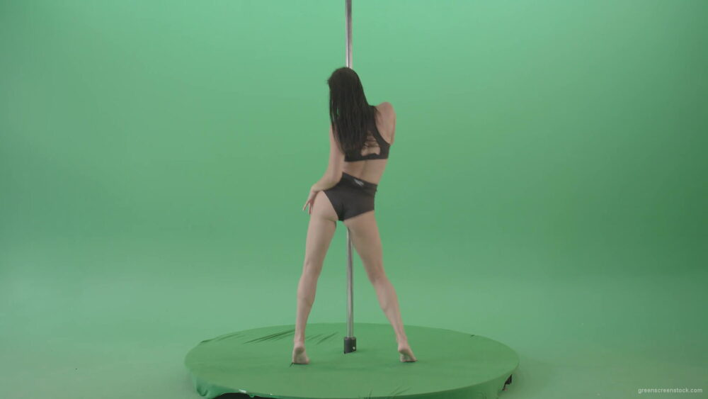 vj video background Brunette-Strip-Model-Girl-has-fun-on-dancing-pole-isolated-on-Green-Screen-4K-Video-Footage-1920_003