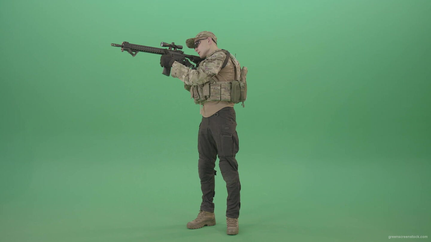 vj video background Counter-strike-army-police-man-shooting-enemy-from-machine-gun-in-Camouflage-uniform-on-green-screen-4K-Video-Footage-1920_003