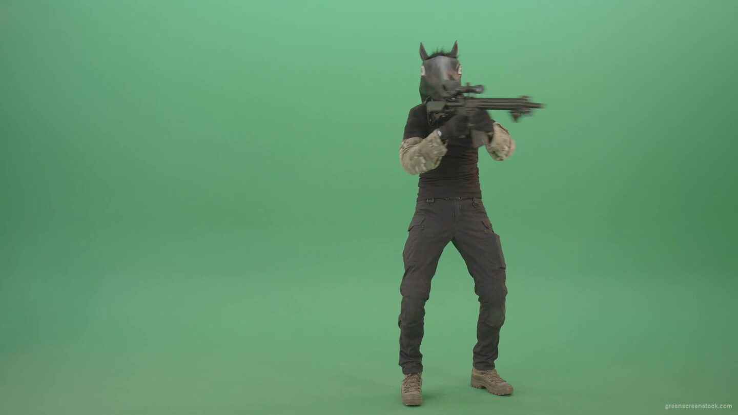 vj video background Front-view-Army-Man-in-horse-mask-shooting-from-Machine-Gun-isolated-on-Chromakey-Green-Screen-4K-Video-Footage-1920_003