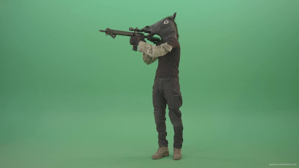 vj video background Funny-Army-Horse-Man-shooting-animals-on-Green-Screen-from-Machine-Gun-4K-Video-Footage-1920_003
