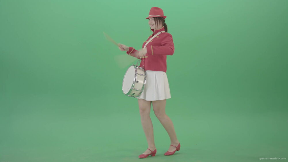 vj video background Funny-Girl-in-red-white-uniform-makes-percussion-and-play-drums-isolated-on-green-screen-4K-Video-Footage-1920_003