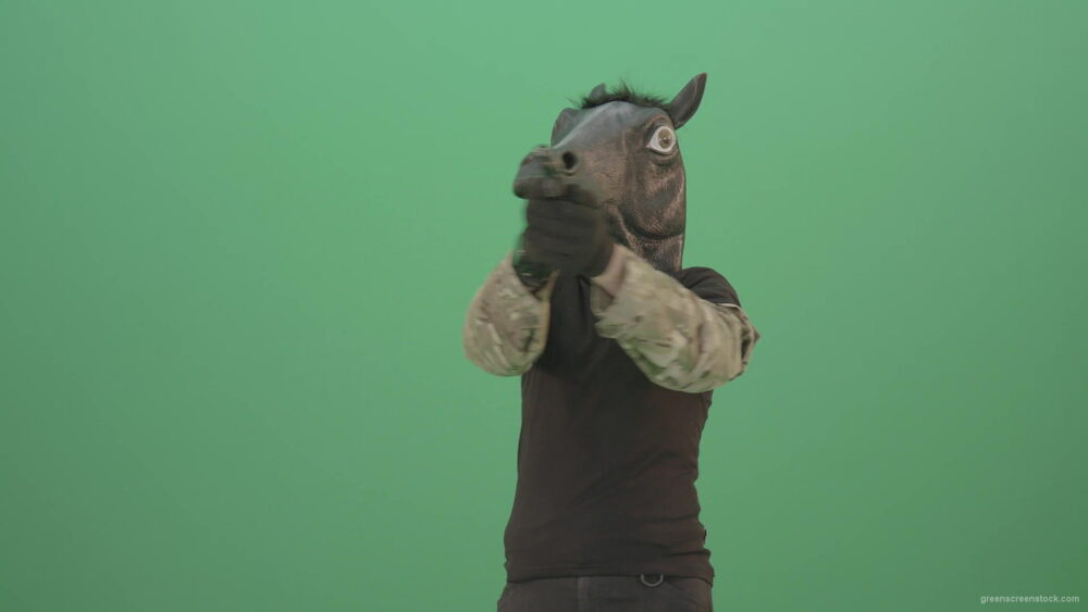 vj video background Funny-Horse-Man-in-Mask-shooting-enemies-isolated-on-green-screen-4K-Video-Footage-1920_003
